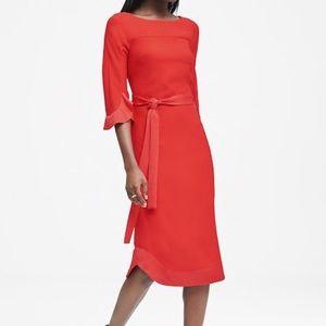 NWT BANANA REPUBLIC Flounce Sleeve Red Dress